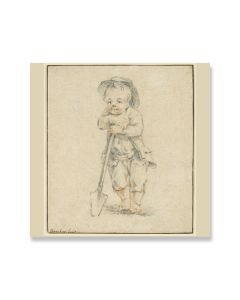 Boy Leaning on a Spade Greeting Card