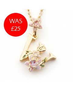Floral Letter W Necklace
