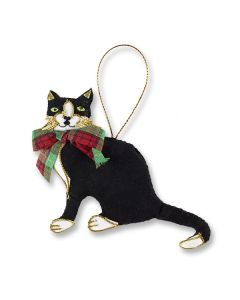 Cat & Tartan Bow Decoration