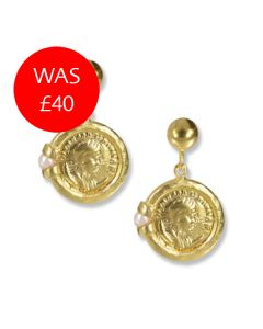 Roman Coin Pearl Drop Earrings