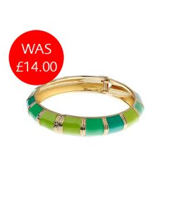 Green & Gold Hinged Bangle