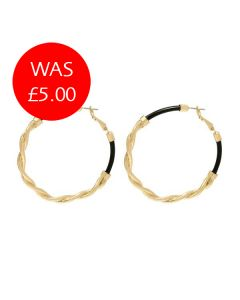 Gold & Black Twist Hoop Earrings