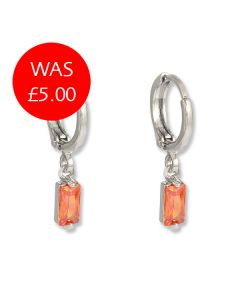 Silver & Peach Stone Earrings
