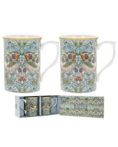 Strawberry Thief Teal 2 Mug Set