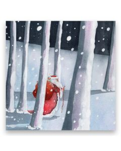 Santa in Forest Christmas Cards