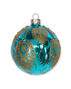 Turquoise Glass Feathers Bauble