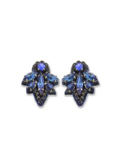 Crystal Leaf Sapphire Earrings