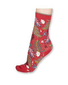Nelly Floral Coral Socks