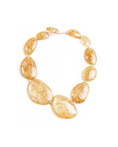 Long Riverstones Gold Flake Necklace